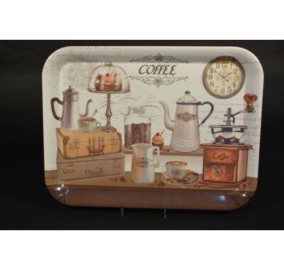 Füles műanyag nagy méretű  tálca kávé mintás 38x29 cm