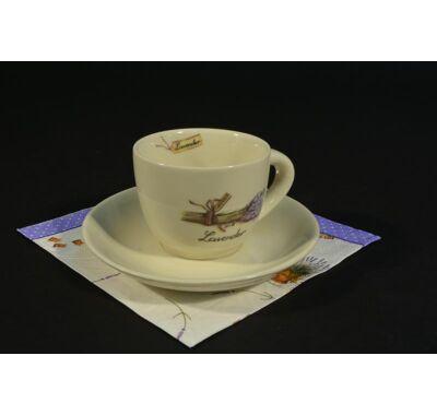 Levendula mintás kávés csésze alátéttel  6 db 1,5 dl ajándék szalvétával