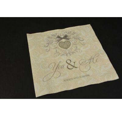 Dombornyomott esküvői szalvéta 33x33 cm 20db