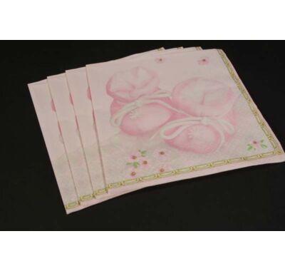 Keresztelőre kislányoknak rózsaszín cipőcske papírszalvéta 33x33 cm