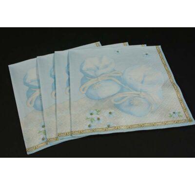 Keresztelőre kisfiúknak kék cipőcske papírszalvéta 33x33 cm