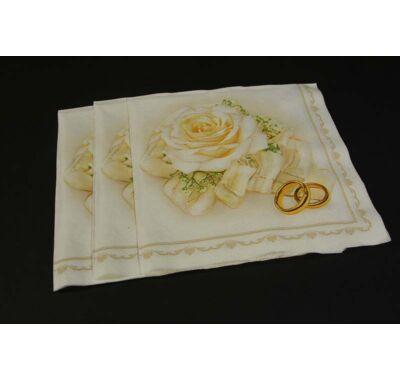 Esküvői szalvéta eljegyzési partira karika gyűrűs papírszalvéta 33x33 cm