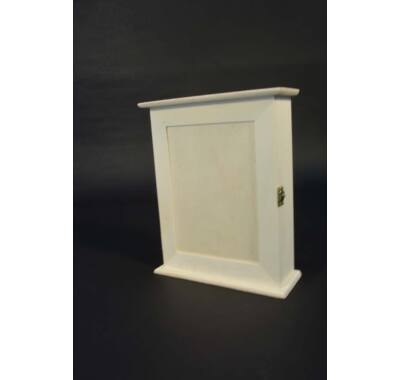 Kulcsos szekrény-dekorálható natúr fa 20x25x7,5 cm