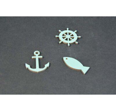 Horgony hajókormány hal-dekorálható fa 3 cm