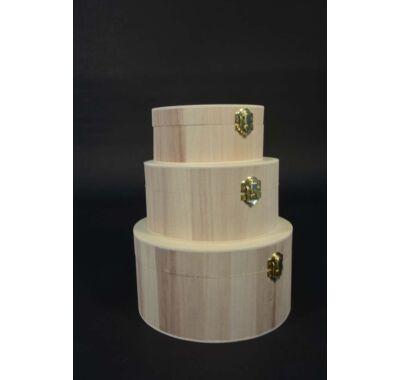 Csatos kerek doboz szett 3 db-dekorálható fa