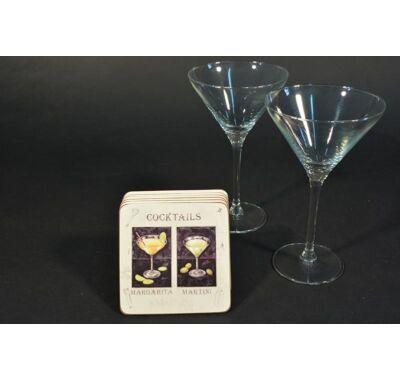 Martinis koktélpohár parafa poháralátéttel