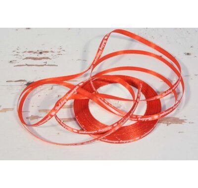 Szatén-szalag dekorációs 6 mm piros Boldog Névnapot