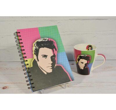 Elvis Presley spirálos vonalas jegyzetfüzet  bögrével