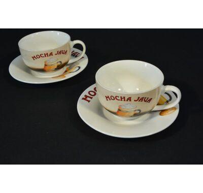 Cappuccinos kávás csésze pár