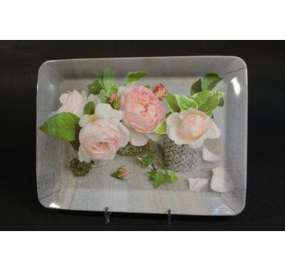 Színes  rózsa mintás melamin tálca  31x23cm