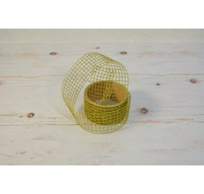 Hálós szalag-arany zöld 4,5 cm