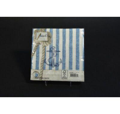 Horgony vasmacska mintás parti szalvéta 33x33 cm