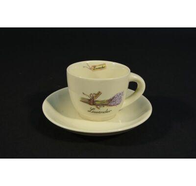 Levendula mintás kávés csésze alátéttel 1,5 dl