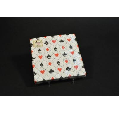 Francia kártya mintás  papírszalvéta 33x33 cm
