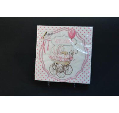Keresztelőre rózsaszín papírszalvéta 33x33 cm