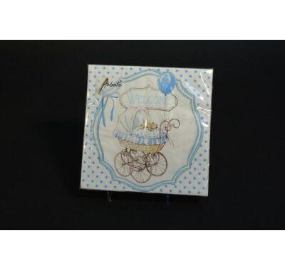 Keresztelőre kék papírszalvéta 33x33 cm