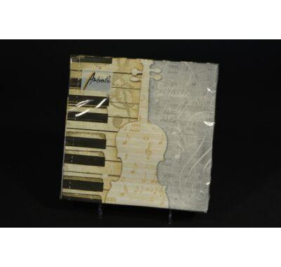 Zongora hangjegy violin kulcs zenei parti papírszalvéta 33x33cm  20db
