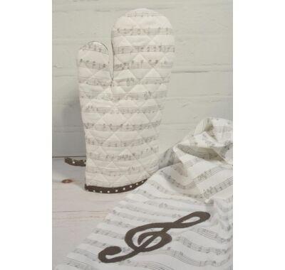 Kotta  hangjegy zenei mintás konyhai edényfogó kesztyű  és konyharuha szett