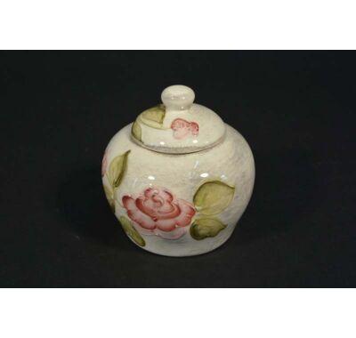 Domború rózsa mintás kerámia cukortartó