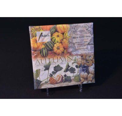 őszi papírszalvéta disztökökkel