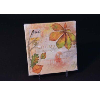 Őszi színes falevelekkel őszi partiszalvéta 33x33 cm 20 db