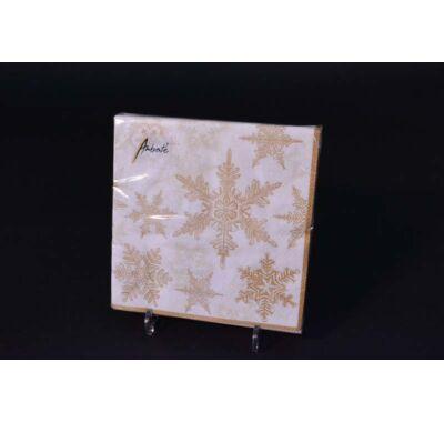 Karácsonyi papírszalvéta arany jégkristály 33x33 cm 20 db