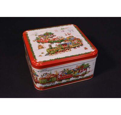 Karácsonyi fém süteményes doboz 15x15 cm