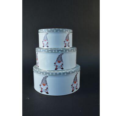 Karácsonyi  kerek fém süteményes doboz szett 3 db
