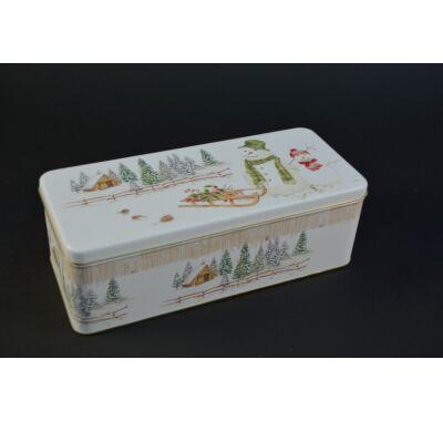 Karácsonyi fém süteményes doboz 24x10 cm