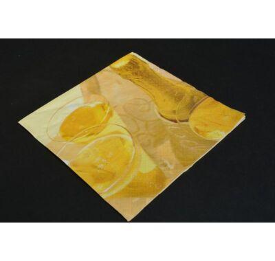 Partiszalvéta pezsgősüveg szalvéta 33x33 cm