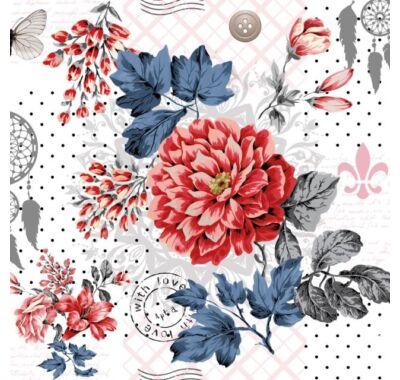Decoupage virágos papírszalvéta 33x33cm
