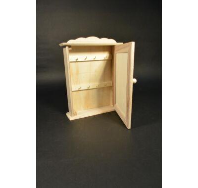 Kulcsos szekrény-dekorálható natúr fa 21x28x6cm