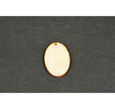 Ovális lap dekorálható fa alap lyukkal 4 cm