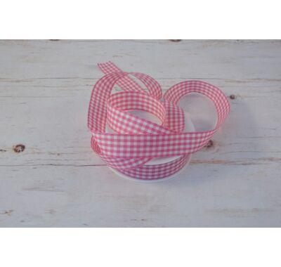 Políészter-Kockás szalag - rózsaszín fehér  2,5 cm
