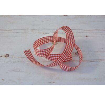 Poliészter-Kockás szalag - piros fehér  2,5 cm