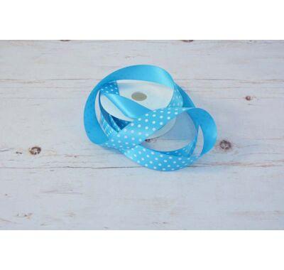Poliészter-Pöttyös szalag - kék fehér 2,5 cm