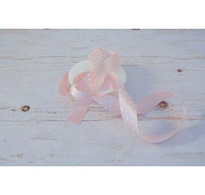 Poliészter-Pöttyös szalag - rózsaszín fehér 2,5 cm