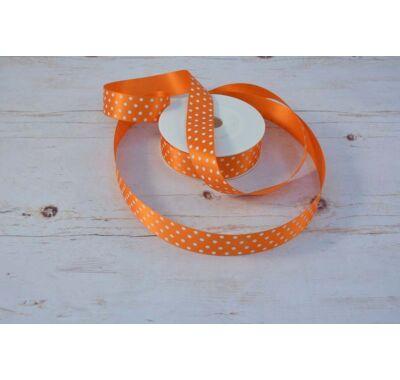 Poliészter-Pöttyös szalag - narancs fehér 2,5 cm