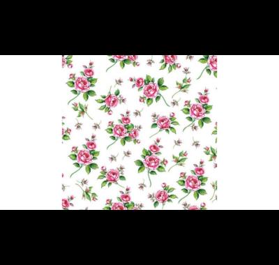 Decoupage apró rózsás papírszalvéta  Evelyn white 33x33cm