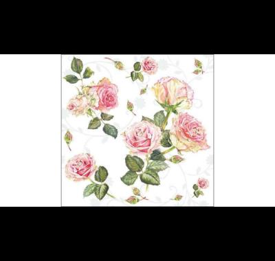Decoupage apró rózsás papírszalvéta  Rosie white 33x33cm