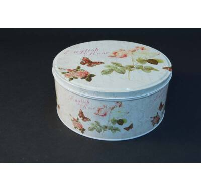 Fém süteményes doboz - rózsás