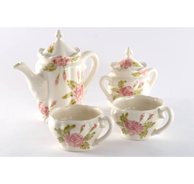 Romantik rózsás teás készlet
