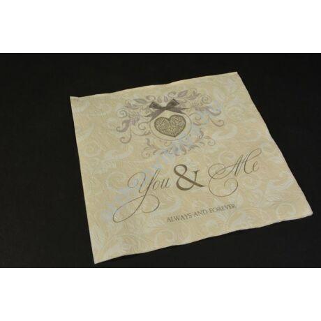 2745a0abcc Dombornyomott mintával elegáns esküvői szalvéta You & Me felirattal
