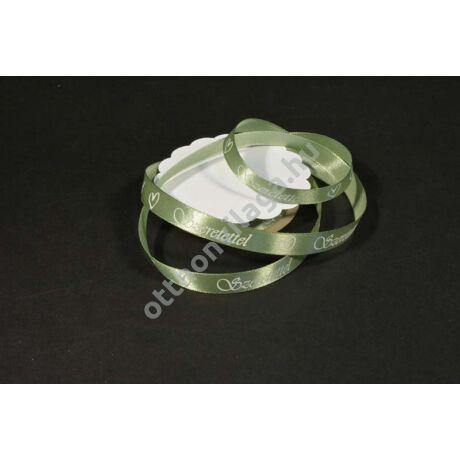 Szeretettel feliratos szatén szalag Vintage zöld