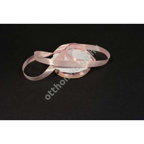 Szeretettel feliratos szatén szalag rózsaszín